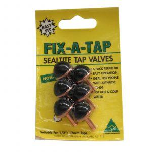 Fix-A-Tap Sealtite Tap Valves 6 Pack Suits 1/2 Inch 13mm Taps 211224