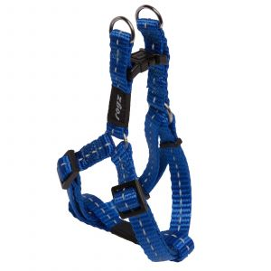 Rogz Nitelife Step-In Dog Harness For Small Dogs Blue Reflective Safety Nylon