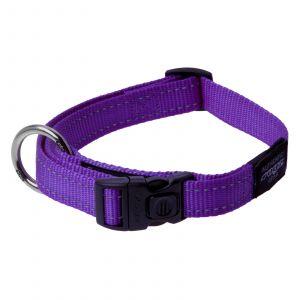 Rogz Utility Fanbelt Dog Collar For Large Dogs Purple Reflective Safety Nylon
