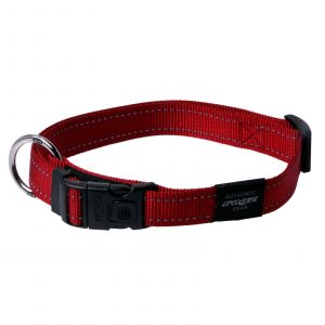 Rogz Utility Lumberjack Dog Collar For X-Large Dogs Red Reflective Safety