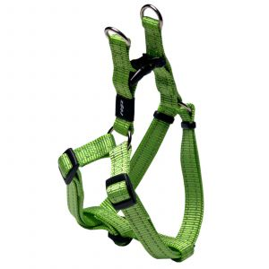 Rogz Snake Step-In Dog Harness For Medium Dogs Lime Reflective Safety Nylon