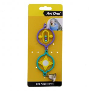 Bird Toy Twin Rings With Turning Beads Bird Aviary Toy Health Interactive Cage