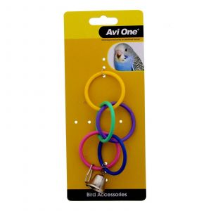Bird Toy Olympic Ring With Bell Bird Aviary Toy Health Interactive Cage Ornament