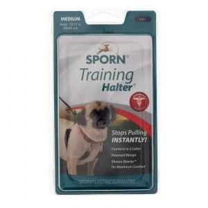 Sporn Training Halter Black Medium Dog Puppy Safe Nylon Webbing Stops Pulling