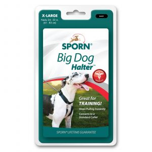 Sporn Big Dog Halter Black X-Large Lifetime Durability Stops Pulling Premium
