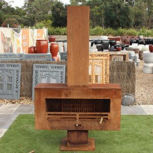 Fireplace with Wood Guards, Grill & Chimney