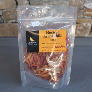 Poblano Mexican Arbol Dried Chillies Heat Factor 5/5 100G