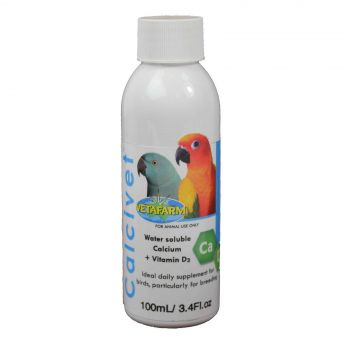 Vetafarm Calcivet Water Soluble Calcium and Vitamin D3 for Birds 100g 3.4floz