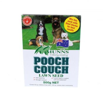 Lawn Seed Pooch Couch Grass Munns 500g Covers 50sqm Drought Tolerant Hardwearing