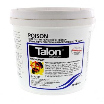Talon Rodenticide Waxblocks Brodifacoum One Feed Kills Rats and Mice 2.4kg