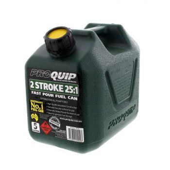 Fuel Can 5L Two Stroke Green Plastic Distinctive Heavy Duty Australian Standard