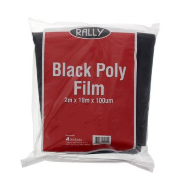 Black Plastic 2m x 10m Polythene Rally 100um Tough Durable Lining Multipurpose