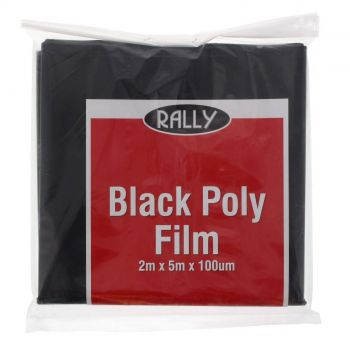 Black Plastic Polythene 2m x 5m Rally 100um Tough Durable Lining Multipurpose