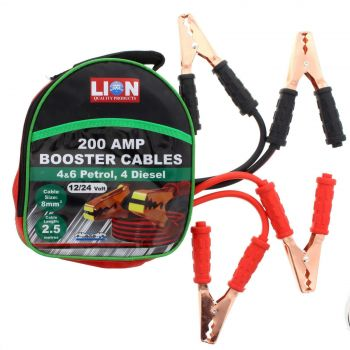 Jumper Lead 200 Amp 2.5m Long 12/24 Volt 8mm Cable Automotive Lion
