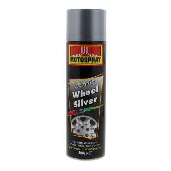 Wheel Silver Acrylic Spray Paint Can 400g Motospray Metallic Finish Durability