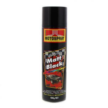 Matt Black Spray Paint Can 400g Motospray Automotive Premium Quality Topcoat
