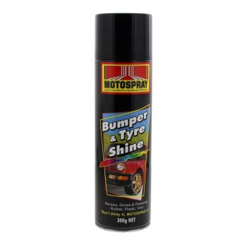 Bumper & Tyre Shine Spray Can 300g Motospray Gives Wet Slick Look Silicone