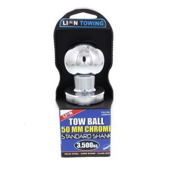 Towball Chrome 50mm Standard 22mm Shank 3500kg Lion Solid Steel Tough Durable