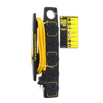 Powerboard Plugboss 5 Outlet 1.8m Cord HPM Safety Overload Protection Push Stop