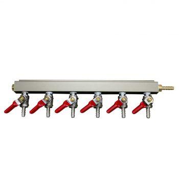 6 Way Air Distributor Aluminium 0.63cm Barb Shutoff with Check Valves Home Brew
