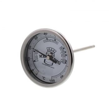 Bi-Metal 3� Dial Weldless Thermometer 132mm Long Stem STAINLESS STEEL Home Brew