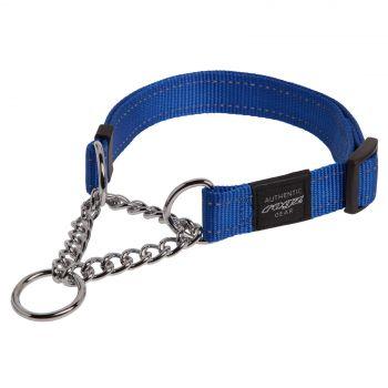Rogz Utility Snake Obedience Dog Collar For Medium Dogs Dark Blue Reflective