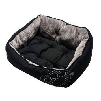 Rogz Luna Pod Pet Dog Cat Bed Medium Black Paw Reversible Cushion Washable