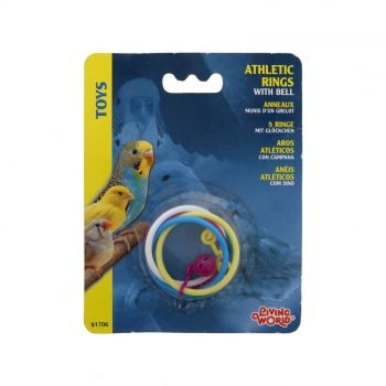 Olympic Athletic Rings Bell Bird Aviary Toy Health Interactive Cage Ornament