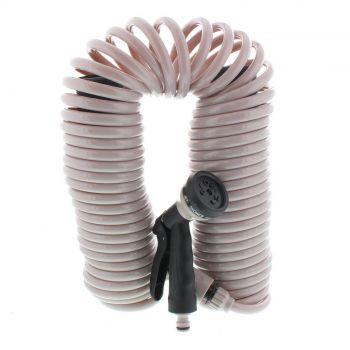 Garden Spiral Hose Coil 15m Includes Hand Spray 6 Pattern Nozzle Gun Orbit