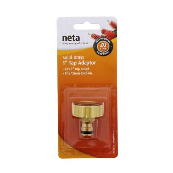 Neta Brass Tap Adaptor 1 Inch Tap Outlet x 12mm Click On Garden Fitting