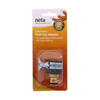 Neta Plain Tap Adaptor For Untreaded 15mm Outlets x 12mm Click On Garden