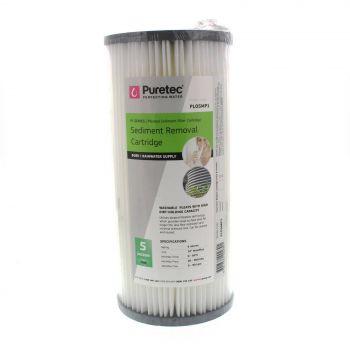 Pleated Sediment Water Filter Cartridge 10 Inch Reusable 5 Micron Puretec