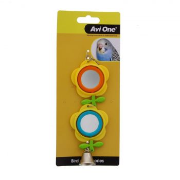 Bird Toy Double Buttercup Mirror Aviary Toy Health Interactive Cage Ornament