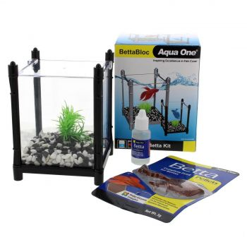 Betta Kit BettaBloc Stackable 1L BLACK 56119BK Fish Tank Aquarium Aqua One