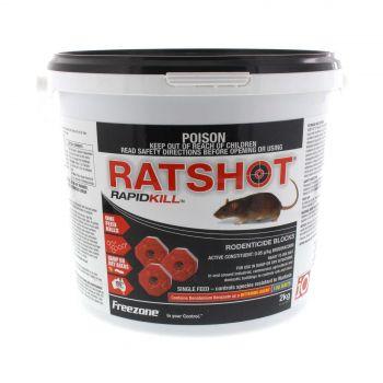 Rat Shot Bait Ratshot Rapid Kill Red Block Damp or Dry Use Brodifacoum 2kg