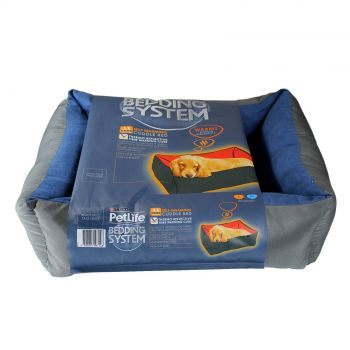 Dog Bed Cat Bed Self Warming Blue/Charcoal Small/Medium Petlife Odour Resistant