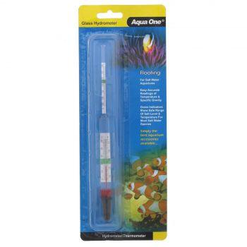 Hydrometer With Thermometer Glass 10308 Fish Tank Aquarium Aqua One