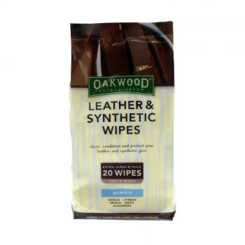 Oakwood Leather & Synthetic Wipes 20 Pack Extra Large Thick Quality Conditioning
