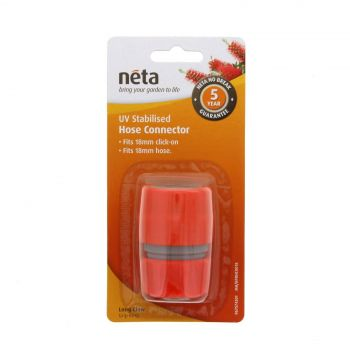 Neta Hose Connector 18mm Click On x 18mm Hose UV Stabilised Long Claw Grip Ring