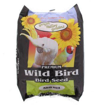 Wild Bird Seed Mix 5kg Bird Food Green Valley Black Sunflower Oats Maize Sorghum
