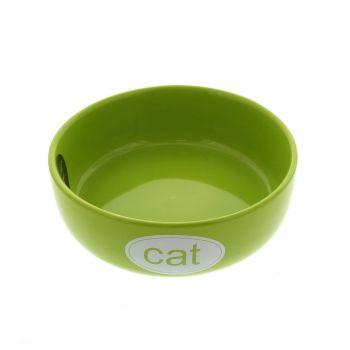 Cat Bowl Kool Lime Green White 12cm Dishwasher & Microwave Safe Kitten Feed Food