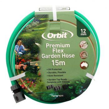Garden Hose Premium Flex 12mmx15m UV Protected Durable Flexible Tap Ready Orbit