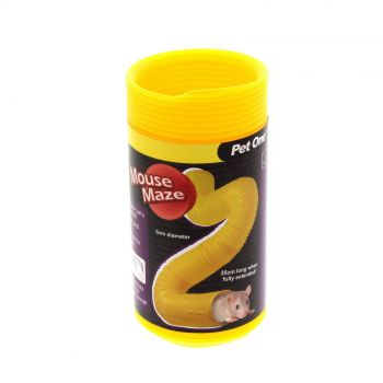 Tunnel Mouse Maze 5x35cm Large Yellow Pet One Exercise Fun Tunnels Pet Health