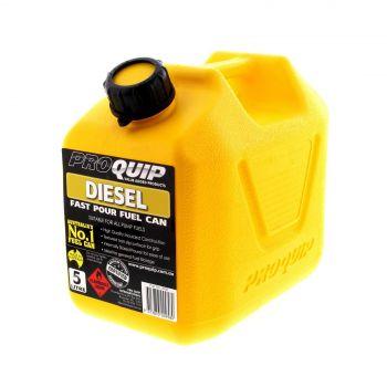 Fuel Can 5L Diesel Yellow Plastic Slip Resistant Australian Standard Heavy Duty
