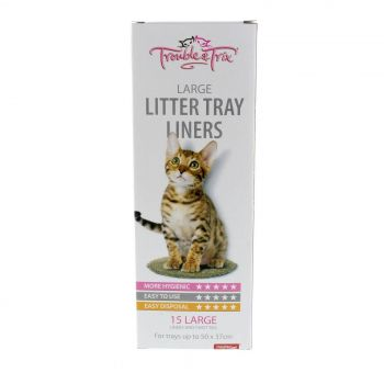 Litter Liners Large 15 Pack For Trays Of 50 x 37cm With Twist Ties Easy Disposal