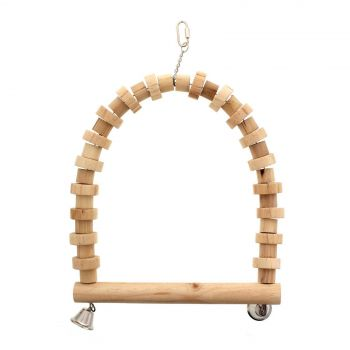 Bird Toy Parrot Swing Wood With Bells Toy Health Interactive Ornament Cage Bird