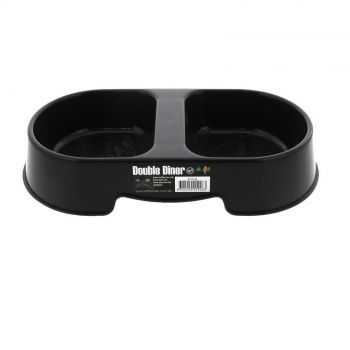 Dog Bowl Heavy Duty Double Diner Black K9 Homes Easy To Clean Convenient