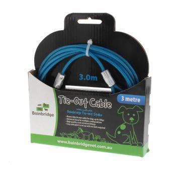 Tie Out Cable 3m Bainbridge Includes Two Snap Hooks Crack Resistant Easy Setup