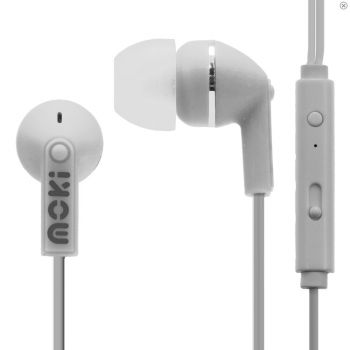 Moki Noise Isolation Earbuds With Microphone White iPhone Android Samsung Phone