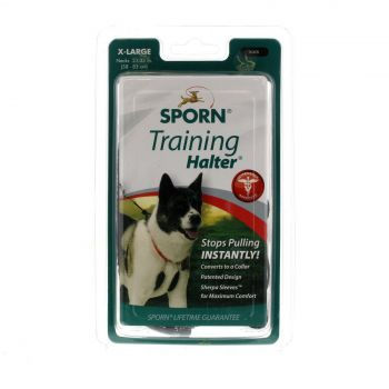 Sporn Training Halter Black XL Dog Safe Nylon Webbing Stops Pulling Soft Padding
